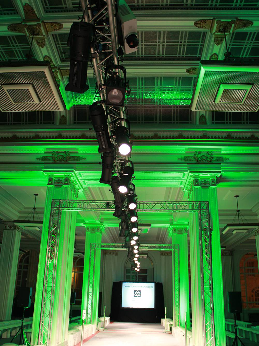 Fashion show catwalk with lighting and AV production in Liverpool's Cunard Building