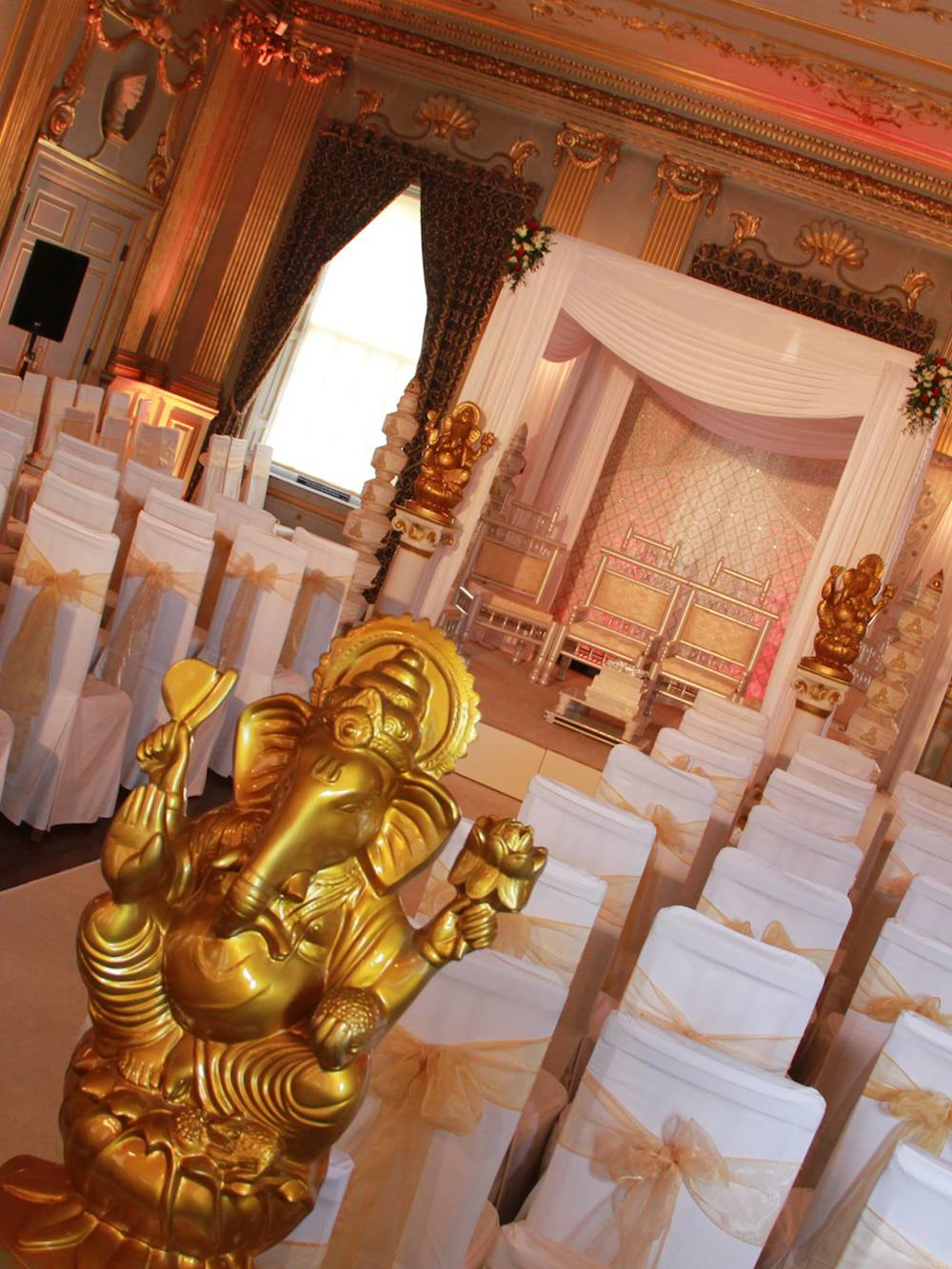 Indian wedding lighting, staging and mandap at Knowsley Hall Liverpool