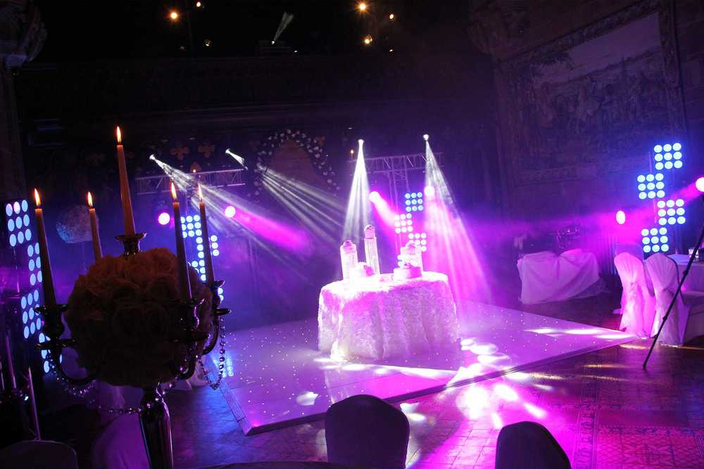 Wedding cake and wedding lighting hire peckforton castle chester