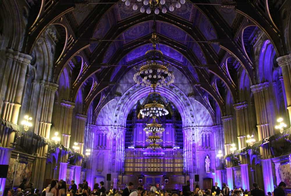 The Great Hall at Manchester Town Hall set for a Gala Dinner with lighting, sound and staging.