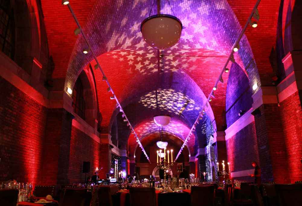 Lighting and starcloth for a gala dinner in The Crypt Hall at Liverpool Metropolitan Cathedral.