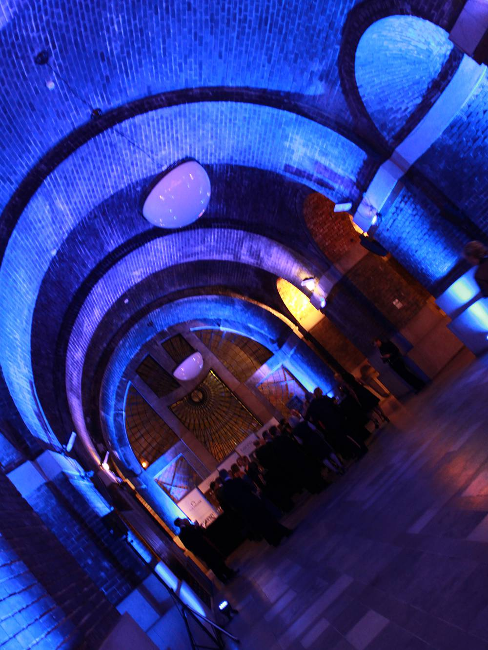 LED uplighters for a drinks reception at The Lutyens Crypt.