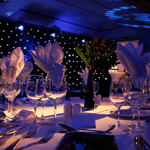 Above: AV Production, Lighting & Staging for a Gala Dinner at Mere Golf Resort in Knutsford, Cheshire.