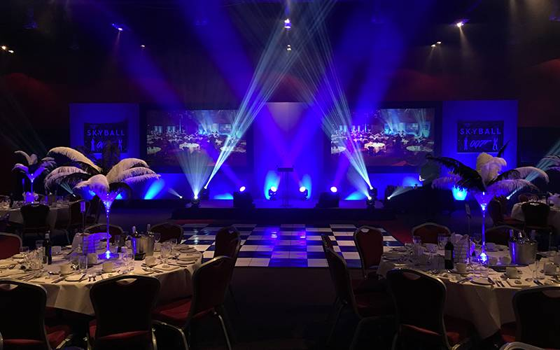 Stock stage set with an additional branding and 2 projection screens for an awards ceremony in Birmingham.