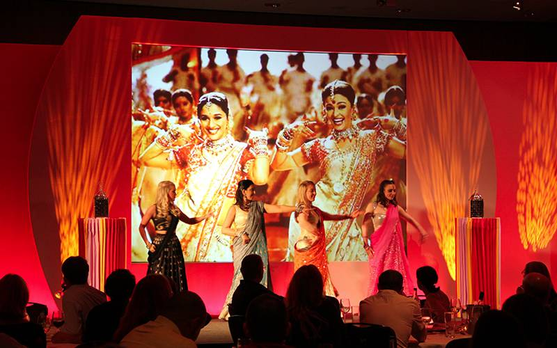 Stock stage set combined with lighting for a Bollywood themed awards ceremony at Hilton Hotel Liverpool One.