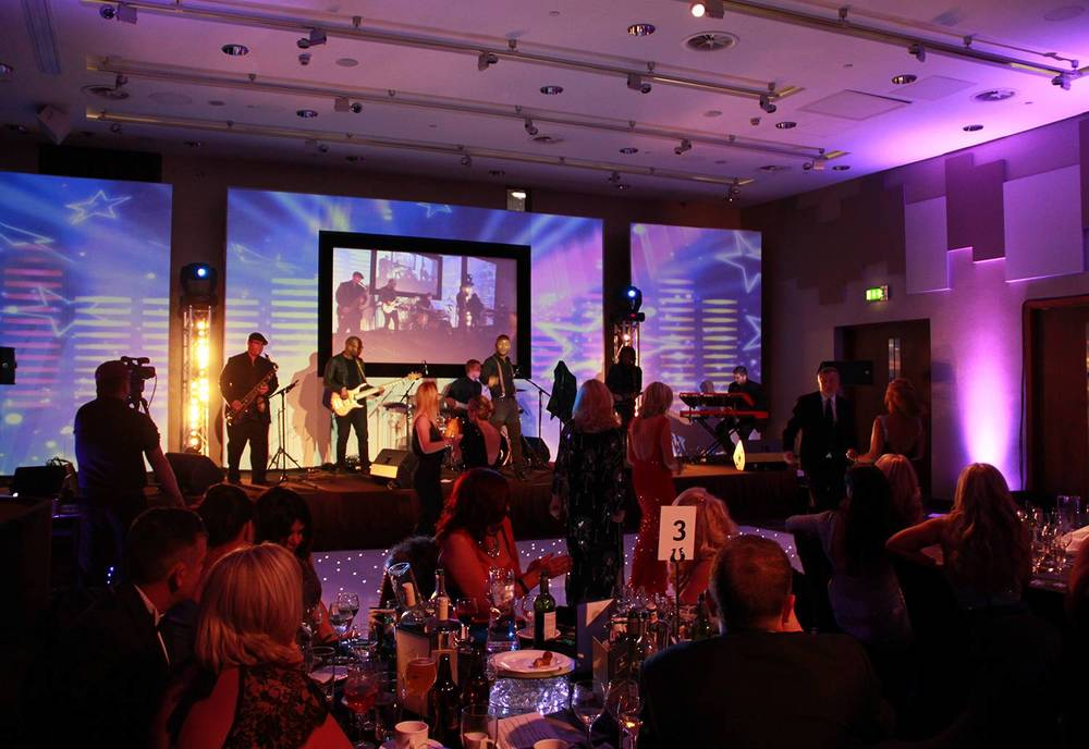 Audio Visual, Lighting, Staging and Projection for a Charity Gala Dinner at Hilton Liverpool