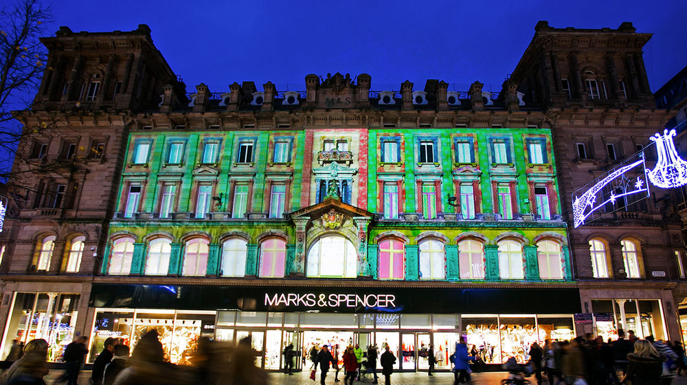 Outdoor Projection Mapping in Liverpool City Centre