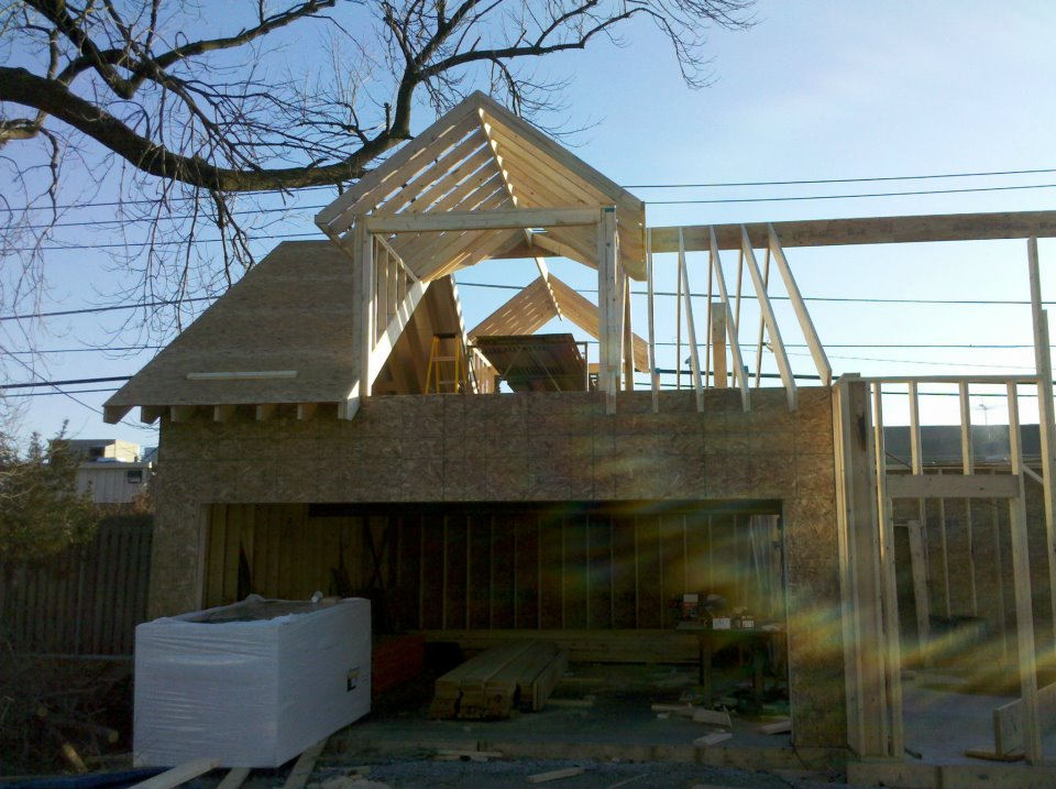 Partway through framing and exterior plywood.  It might look nice and sunny, but remember, it was the middle of a chicago winter in this picture.  Jeremy and Allison might have picked a bad time to start........ but they did it.