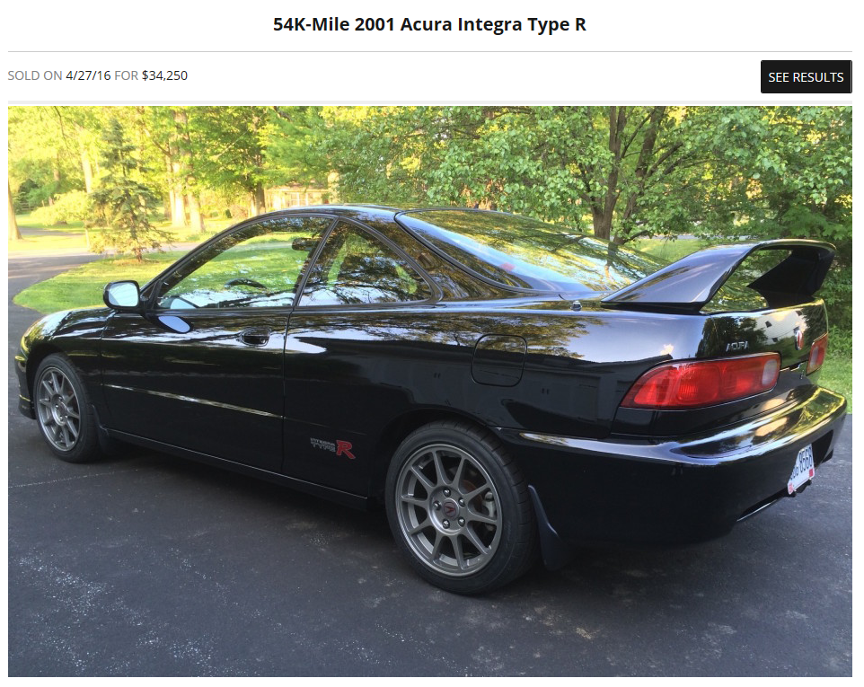Yet another bringatrailer.com sale. This one tipping at $34,250 for a stock Type R.