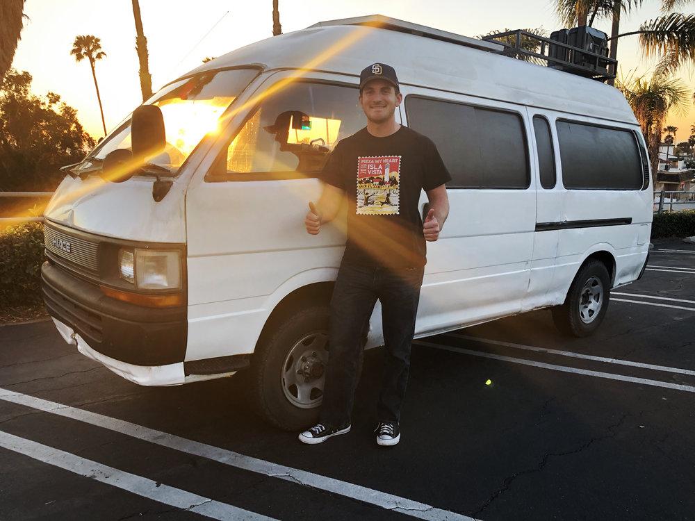 """Joey Jordan and his van, """"Flaco"""""""
