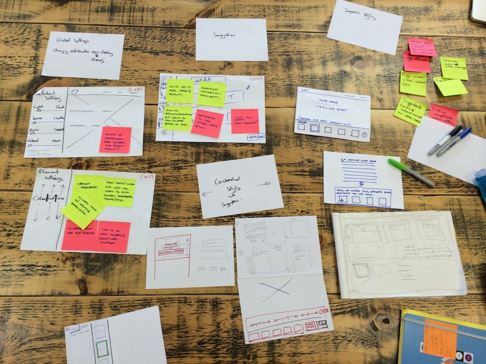 Some of the team's sketches and ideas as we worked through each customer problem.