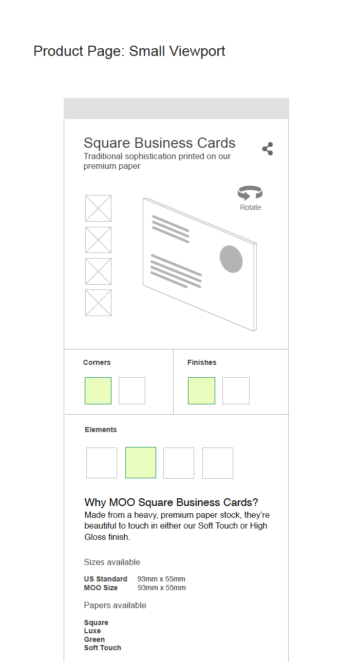 Product Screen template wireframes.