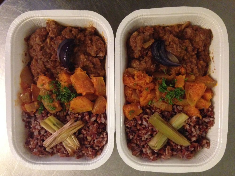 Lamb Meatballs with seasonal squash and red rice