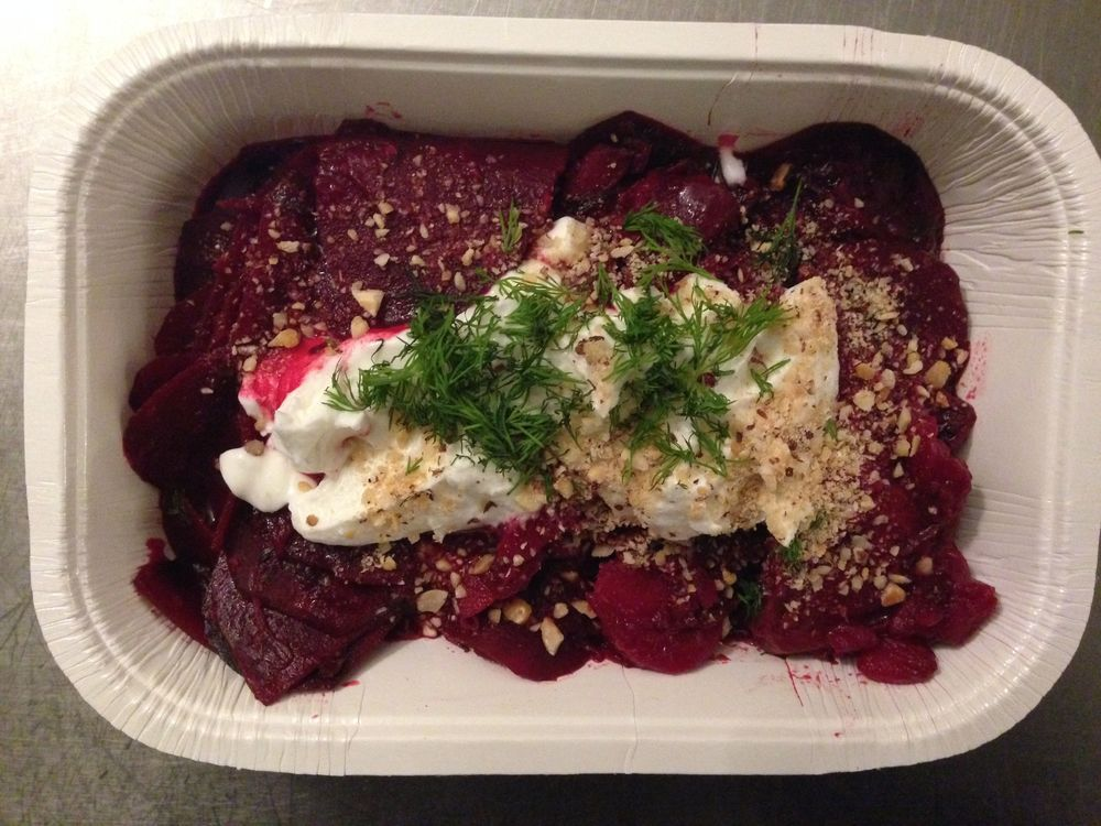 Beet Gratin with Hazelnuts and dill