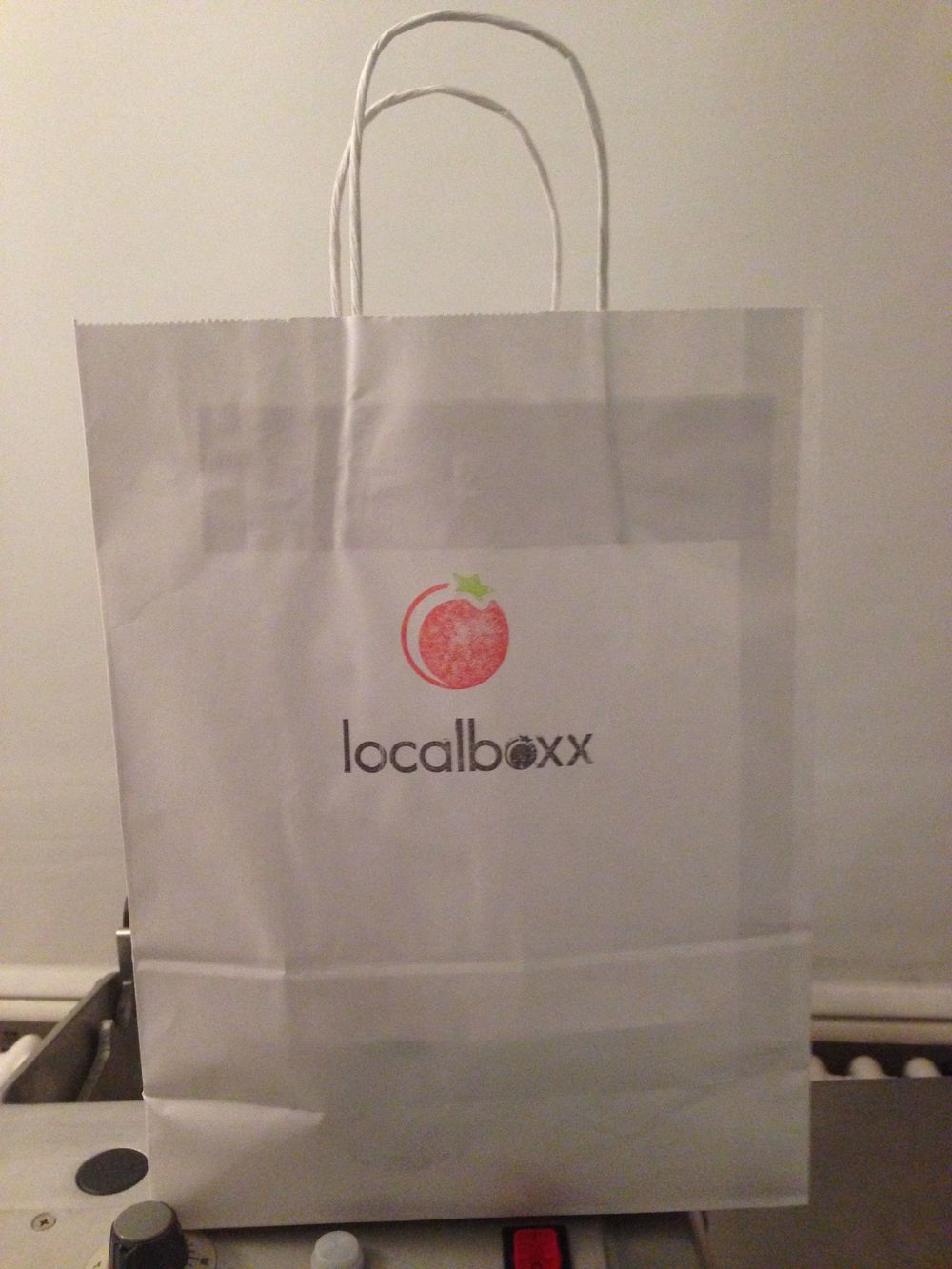 "... hand stamped Localboxx carrier bag. ""Buen provecho ..."" Have a yummy Friday night!"