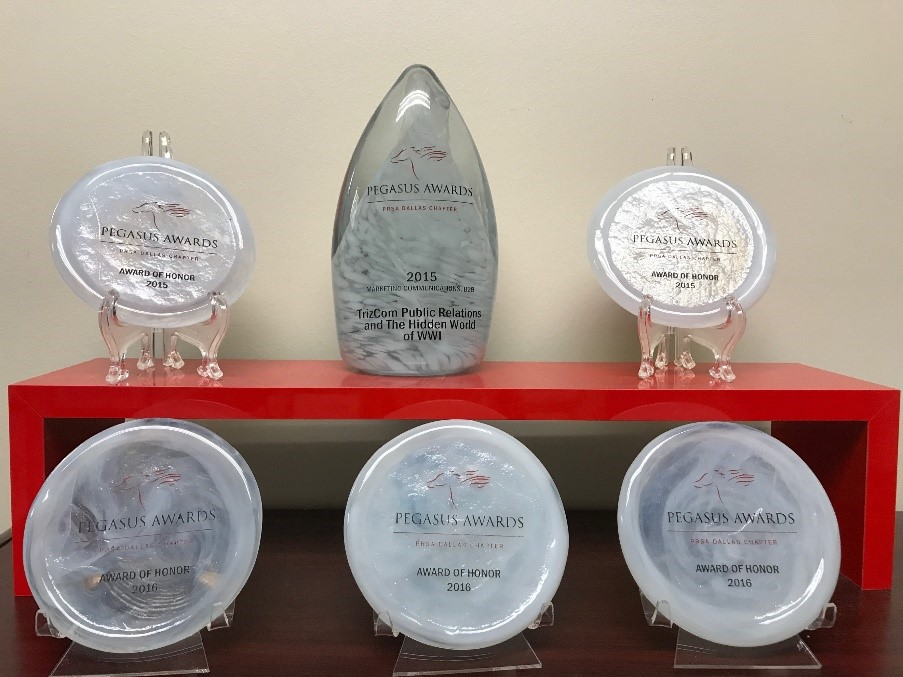 Pegasus Awards awarded to TrizCom Public Relations in 2015 (above) & 2017 (at right)