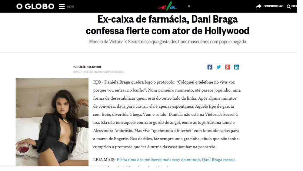 Click here to read the article:  https://oglobo.globo.com/ela/gente/ex-caixa-de-farmacia-dani-braga-confessa-flerte-com-ator-de-hollywood-20207119
