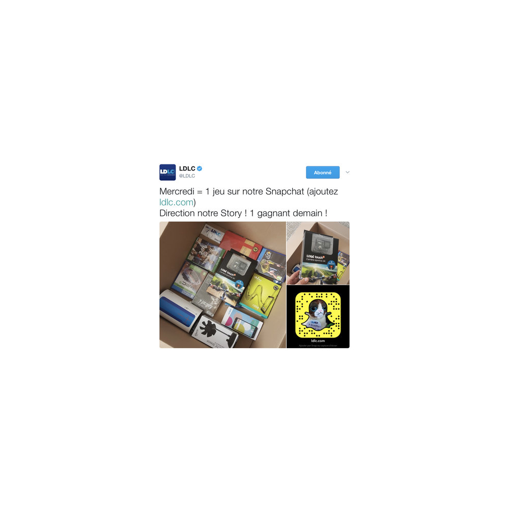 LDLC réalise régulièrement des jeux-concours sur Snapchat en les relayant sur les autres réseaux sociaux.