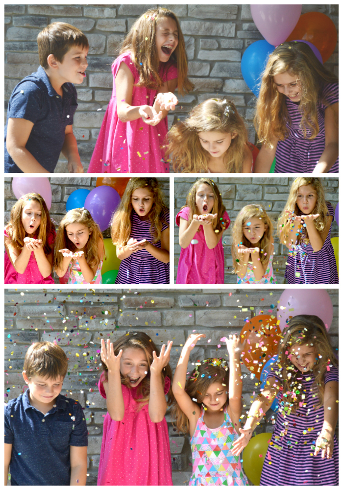 confetti photo shoot with kids