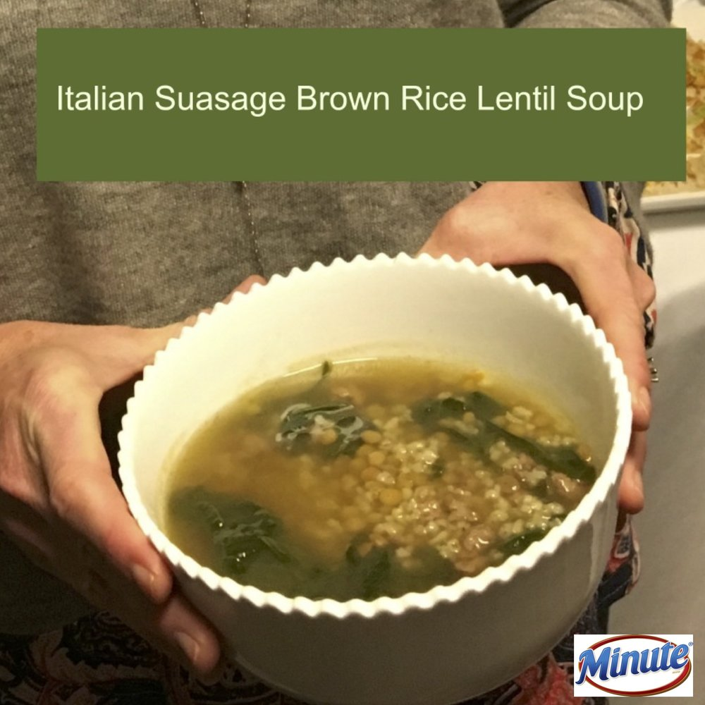 italian susage brown rice lentil soup