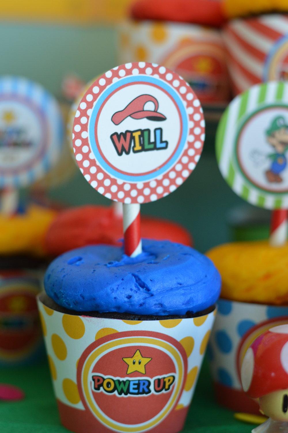 Mario birthday party cupcakes