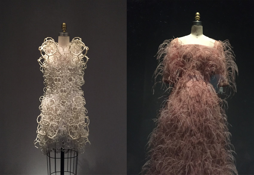 "Above left is ""Bahai"" Dress from 2014 by Threesafour (American, founded 2005).  Above right is Evening Dress from 1965 by House of Balenciaga."