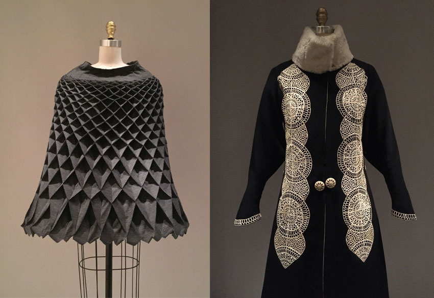 "Above left is ""Cape"" from 2015-16by Comme des Garcons (Japanese, founded 1969).  Above right is ""Coat"" ca. 1919 by Paul Poiret (French, 1879-1944)."