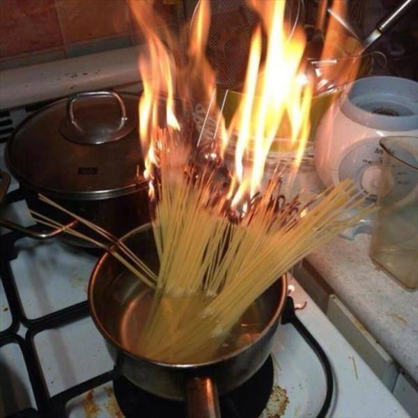 Ole burnt up noodles