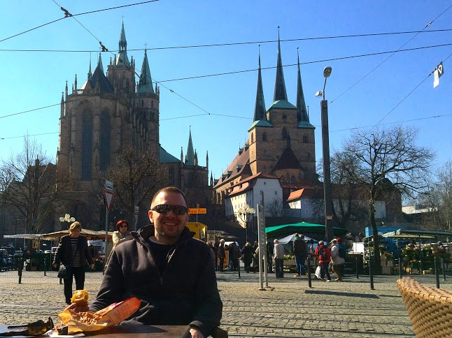 Enjoying the open market in front of the Erfurt Cathedral in Germany.