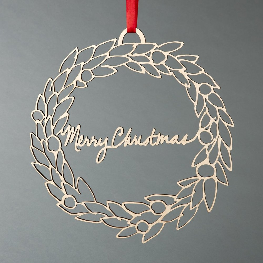 Merry Christmas Wreath - Lasercut Wood