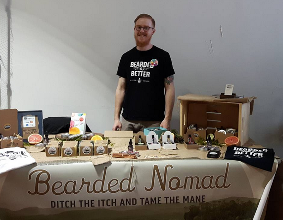 Jacob Daisley with Bearded Nomad products