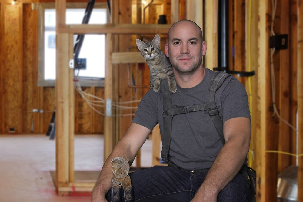 George Meier (Cal-Tech Electric) poses with Morris for the 2017 Men With Cats Calendar