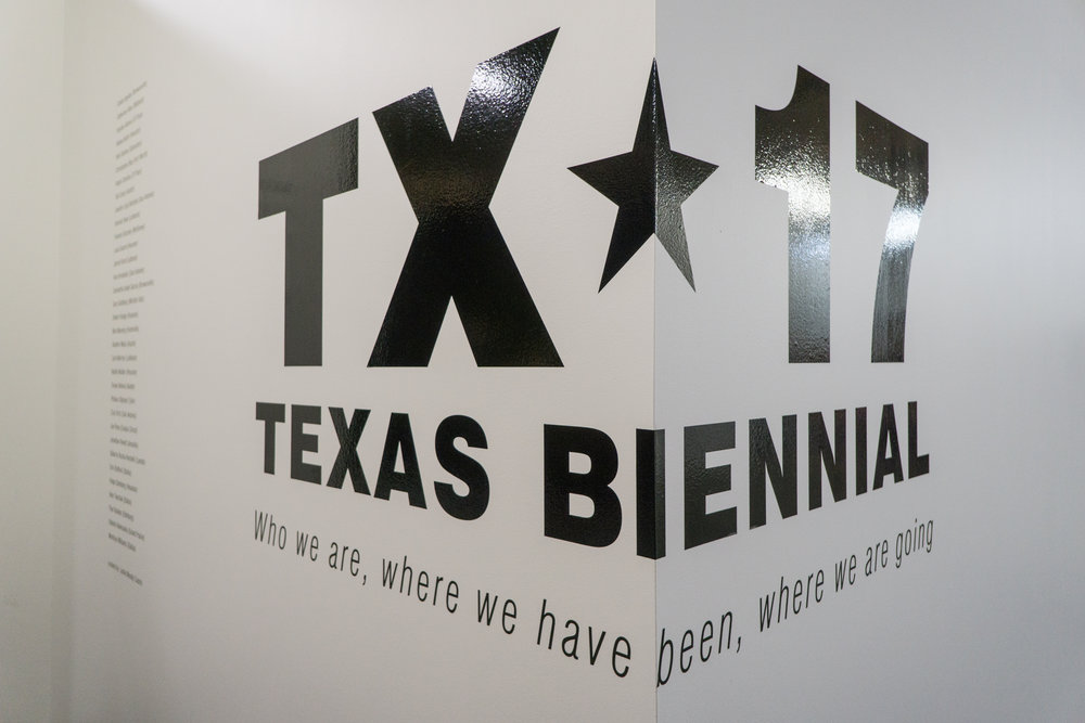 """Territory."" Site specific installation by Luisa Duarte for theTexas Biennial 2017, wax thread and thumbtacks, 77 feet x 11 feet."