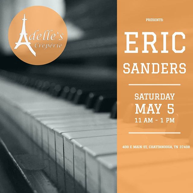 Join us Saturday for Eric Sanders. Eric's music is ecletic, original and cinematic. With songs that range from hard driving edgy blues to soothing, rich and stylish jazz passages that are emotionally charged, compelling and passionate. So wake up and come hang out and while you're here get some delicious crepes from @adellescreperie423 #cha #adelles #adellescreperie #granfalloon