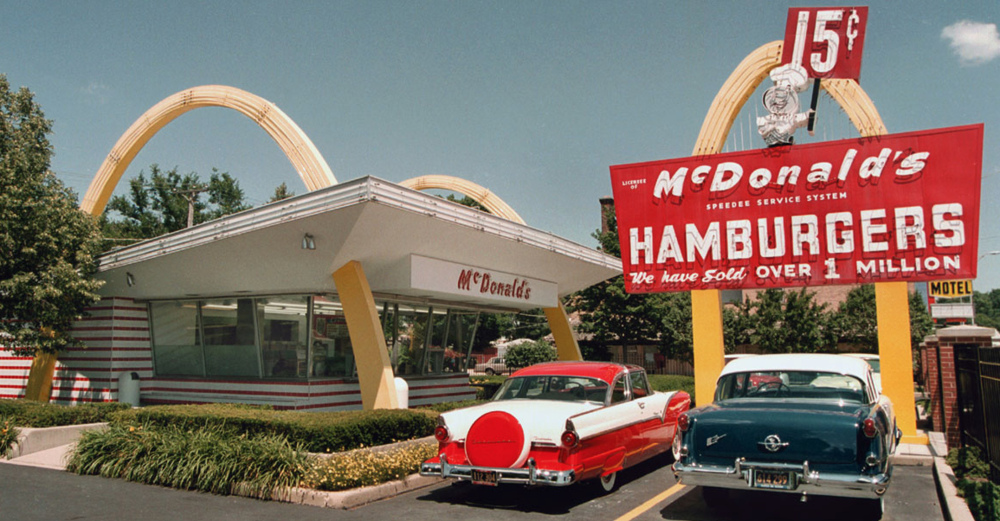 first mcdonalds restaurant. mcdonalds hamburgers. golden arches. classic pic
