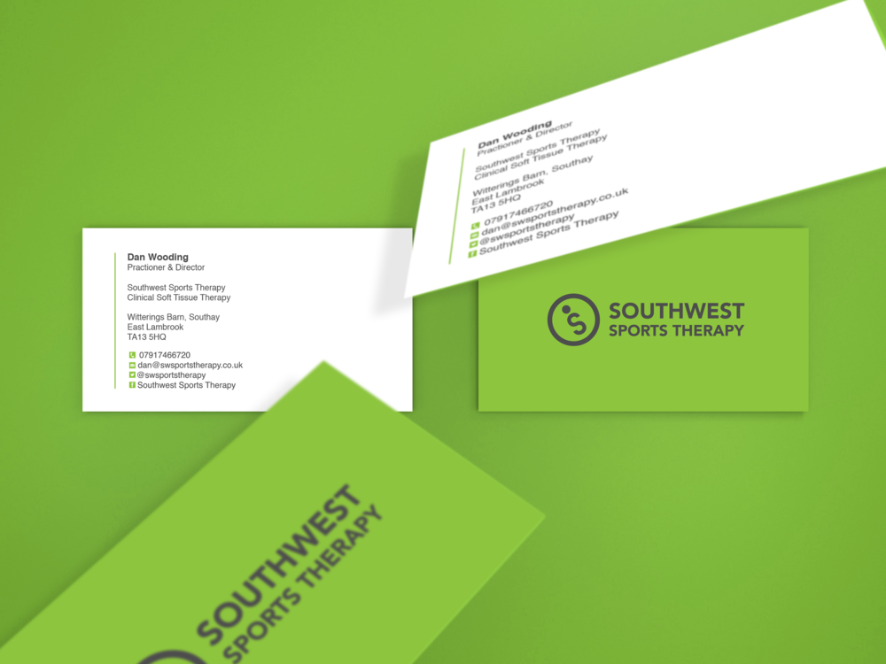 Southwest Sports Therapy business cards mockup design green