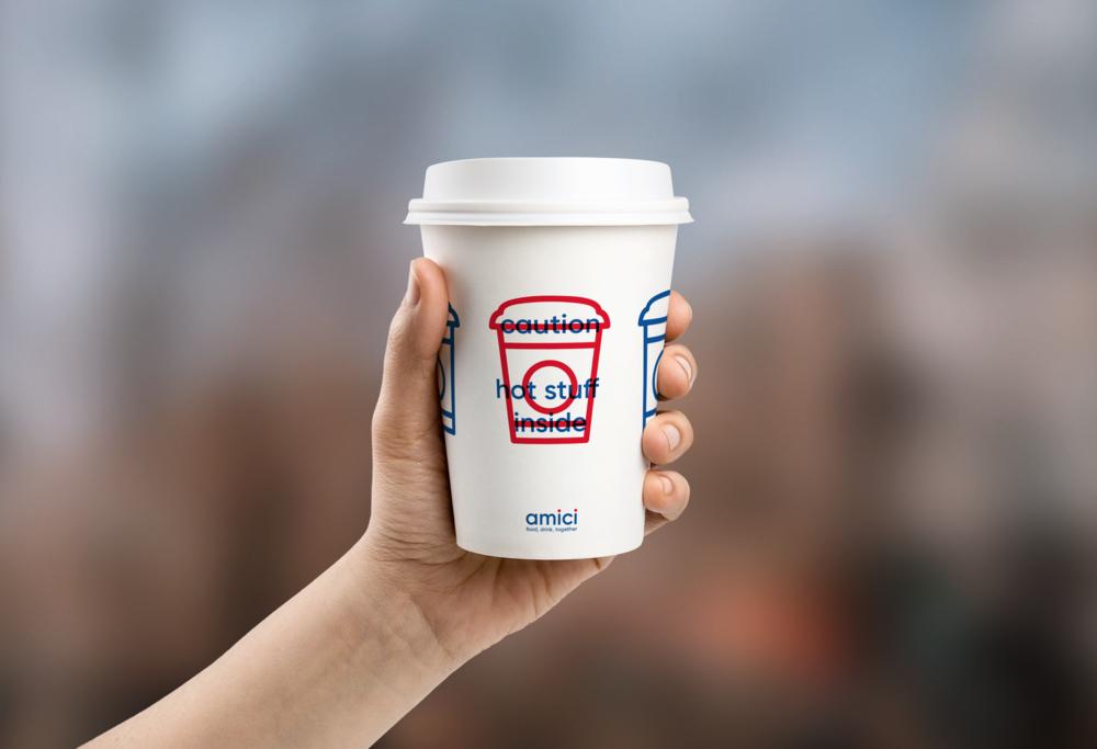 Amici coffee cup mockup