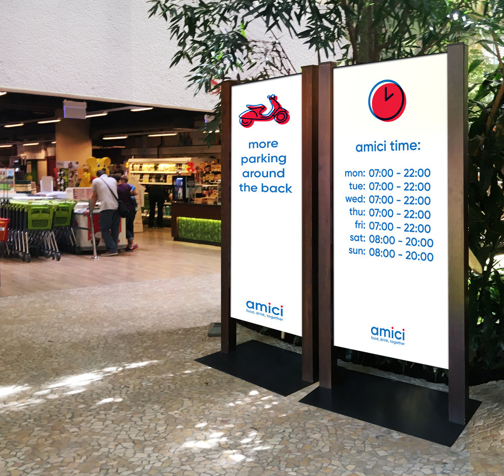 amici signs open close times supermarket