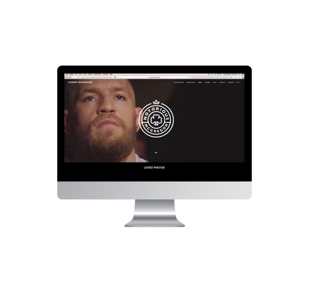 conor mcgregor website with logo on