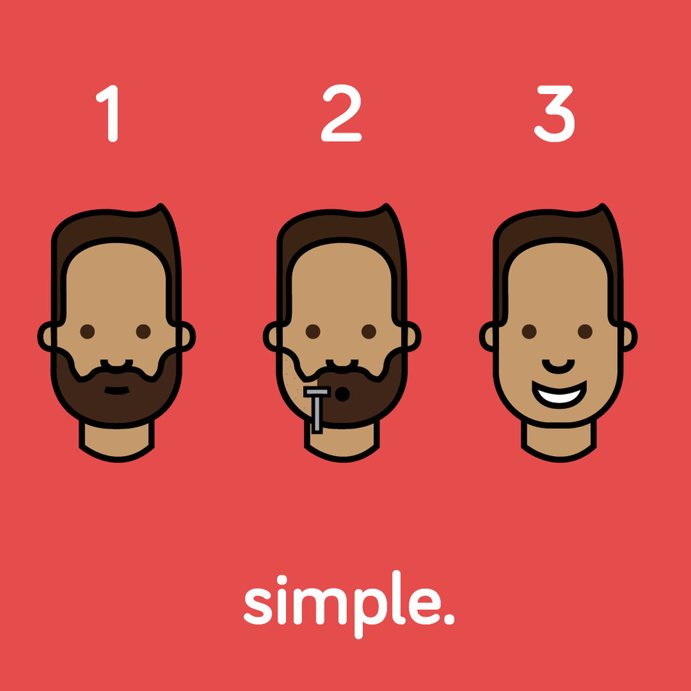 Simple Shave Steps Red illustration design