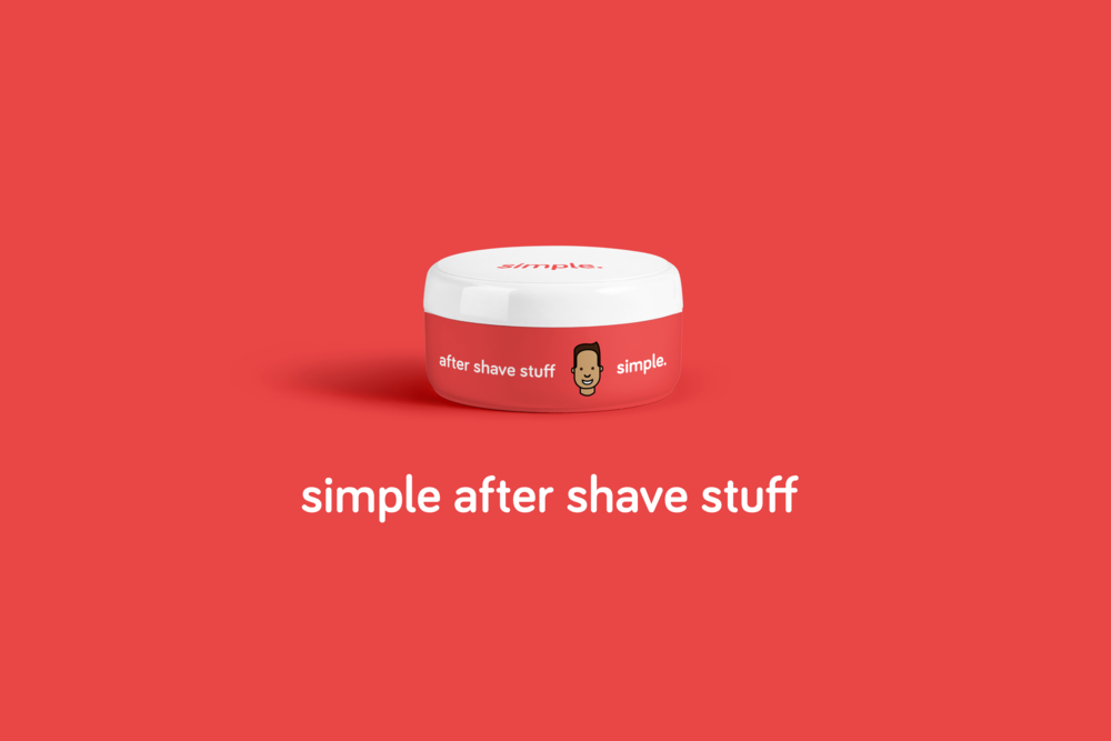 red simple shave cream packaging design