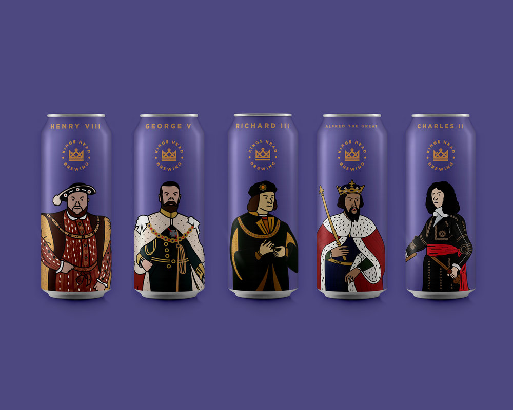 kings head beer can design packaging