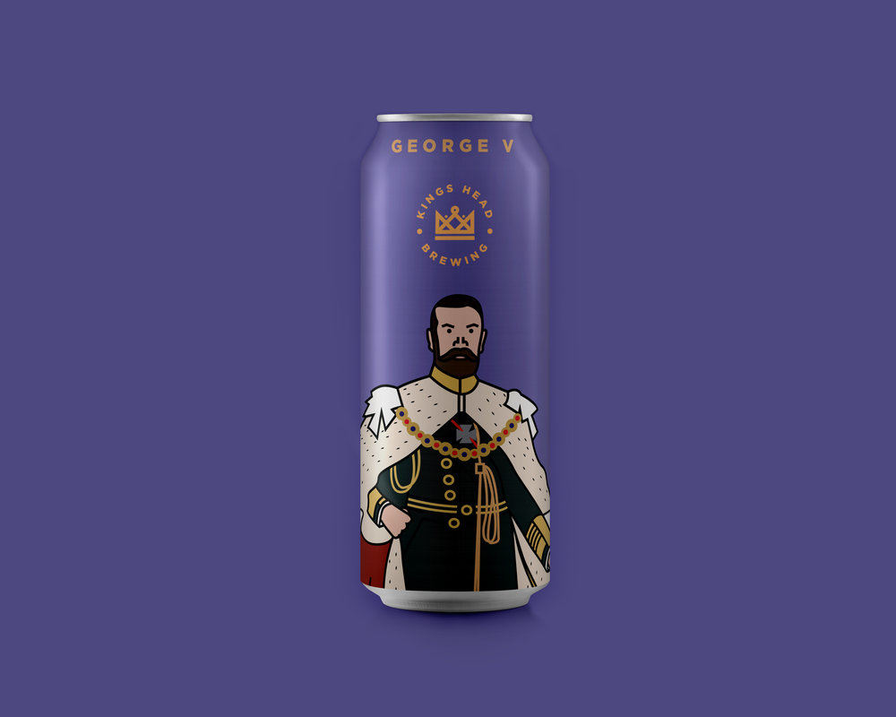 king george beer can design