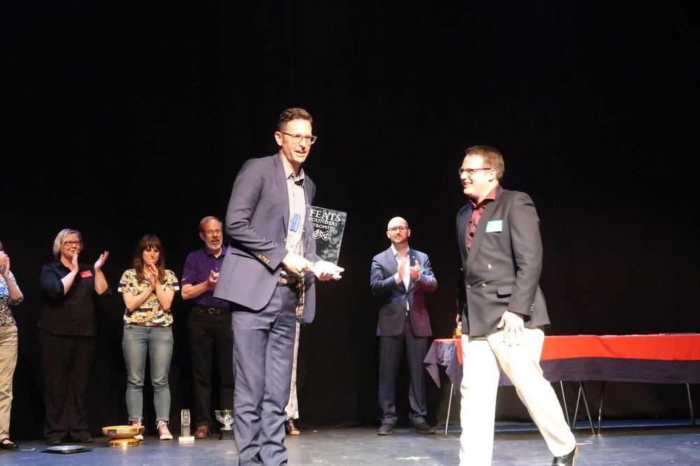 Martin Mills (playing Ludwig van Beethoven opposite Harald's Quasimodo) with the award for best production at FEATS 2018