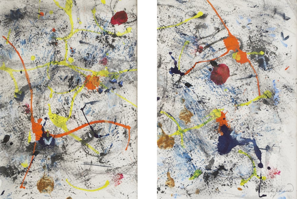 "Liquid Painting Diptych  2014 10.25"" x 7"" Each Oil Ink and Monotype on Paper"