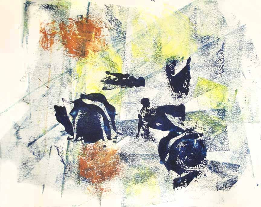 "The Race  2015 18"" x 23"" Monotype - Oil Ink on Paper"