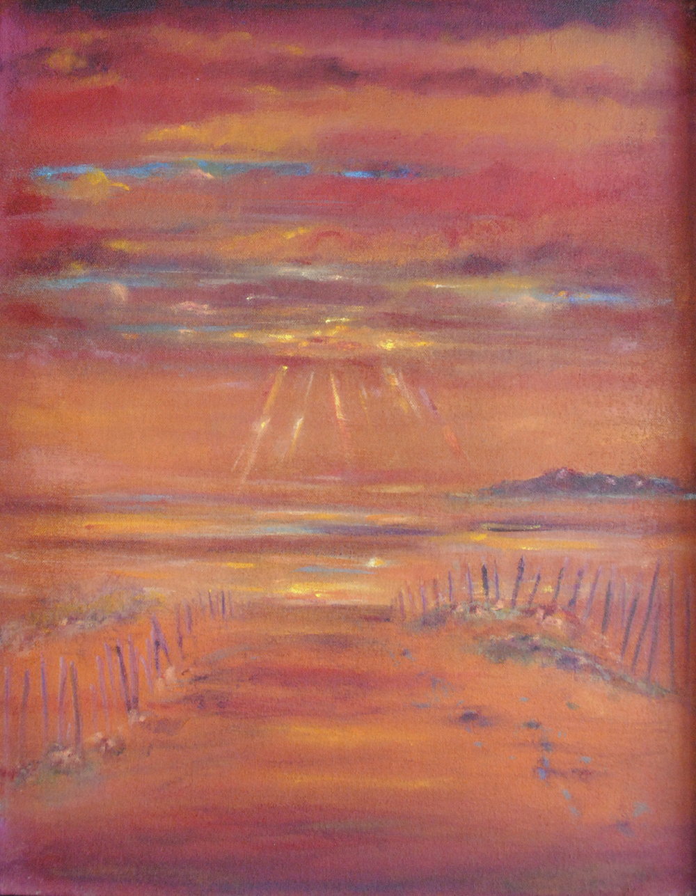 "Beach (Sunset Peaking Through)  2013 19.50"" x 15.50"" Oil on Canvas"