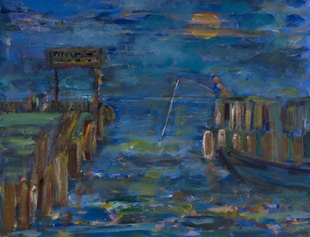 "Night Fishing at Town Dock  1997 13.50"" x 19.50"" Oil on Canvas"
