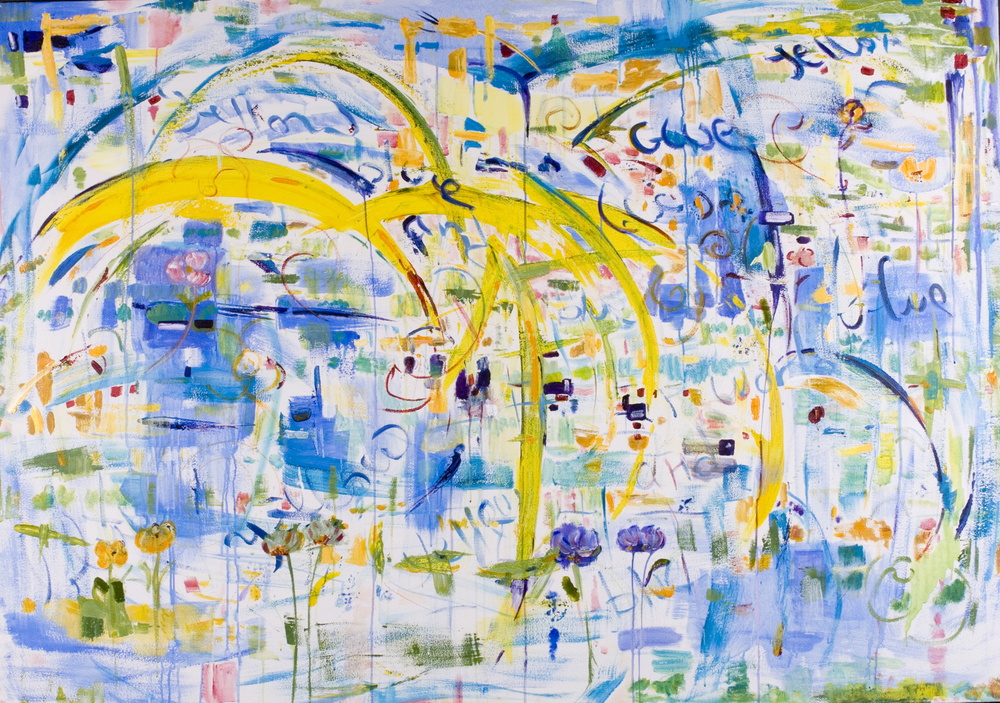 "Blue Yellow World  2008 60"" x 84"" Acrylic on Canvas"