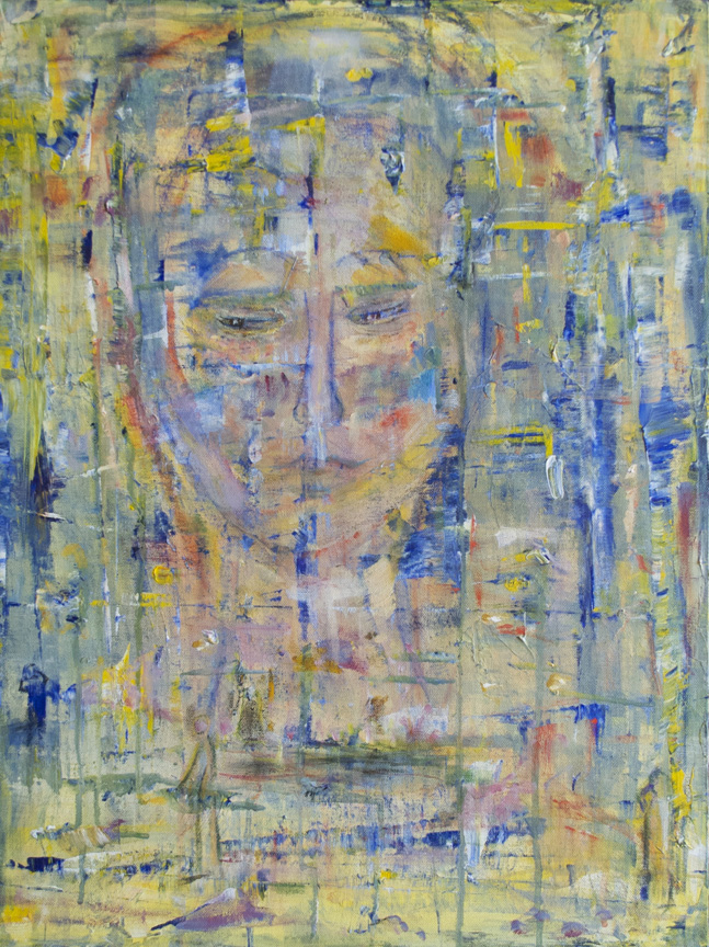 "Gaia - Troubled by What We Do To Her  2015 24"" x 18"" Acrylic on Canvas"